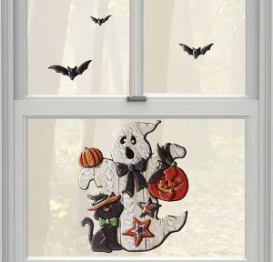Ghost & Bats Halloween Cling Decals 6ct