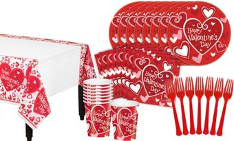 Be Mine Valentine's Day Classroom Tableware Kit for 32 Guests