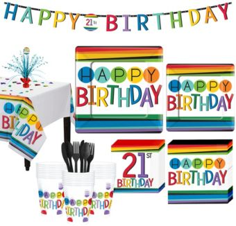 Rainbow 21st Birthday Party Kit for 32 Guests