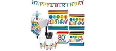Rainbow 80th Birthday Party Kit for 32 Guests