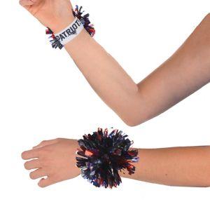 New England Patriots Pom-Pom Wristbands 2ct