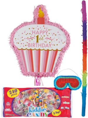 Pink Cupcake 1st Birthday Pinata Kit