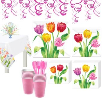 Spring Tulips Tableware Kit for 16 Guests