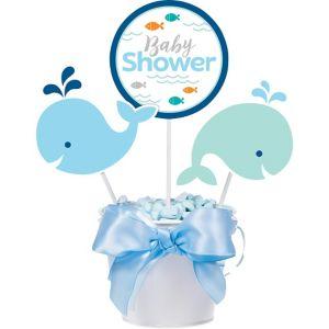 Blue Baby Whale Baby Shower Centerpiece Sticks 3ct