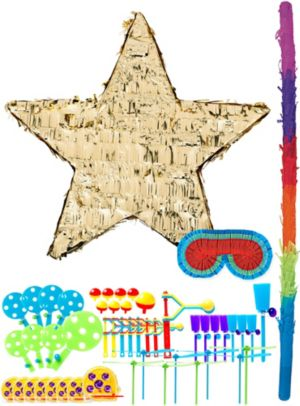Foil Gold Star Pinata Kit with Favors