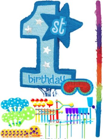 Blue 1st Birthday Pinata Kit with Favors