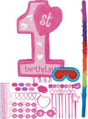 Pink 1st Birthday Pinata Kit with Favors