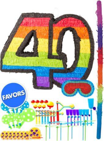 Rainbow Number 40 Pinata Kit with Favors