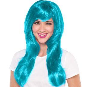Glamorous Long Turquoise Wig