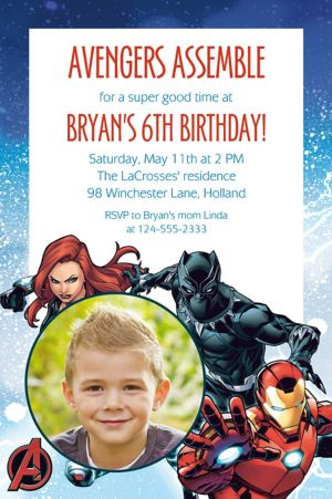 Custom Epic Avengers Photo Invitation