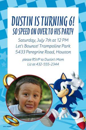 Custom Sonic the Hedgehog Photo Invitation