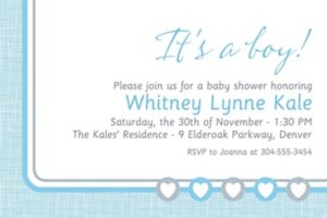 Custom Gray and Blue Hearts Invitation