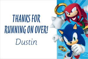 Custom Sonic the Hedgehog Thank You Note