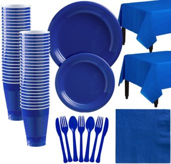 Royal Blue Plastic Tableware Kit for 50 Guests