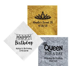 Personalized Birthday Embossed Damask Lunch Napkins
