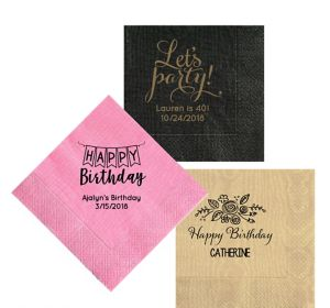 Personalized Birthday Moire Lunch Napkins