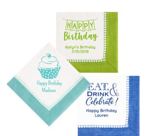 Personalized Birthday Bordered Lunch Napkins