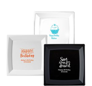 Personalized Birthday Premium Plastic Square Dinner Plates