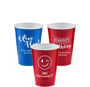 Personalized Birthday Solid-Color Plastic Party Cups 10oz