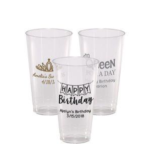 Personalized Birthday Hard Plastic Cups 16oz