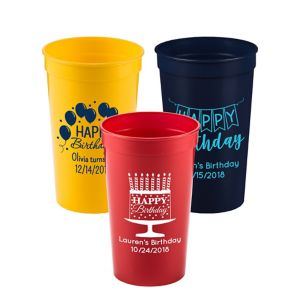 Personalized Birthday Plastic Stadium Cups 22oz