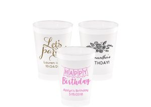 Personalized Birthday Frosted Plastic Shatterproof Cups 8oz