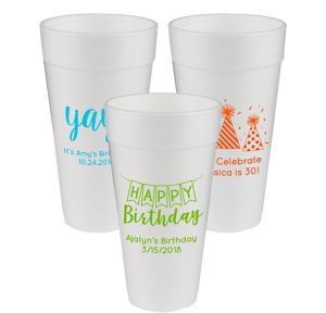 Personalized Birthday Foam Cups 24oz