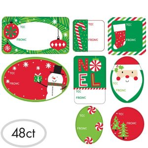 Jolly Christmas Adhesive Gift Tags 48ct
