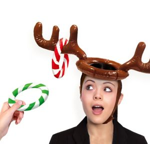 Inflatable Reindeer Hat Ring Toss Game