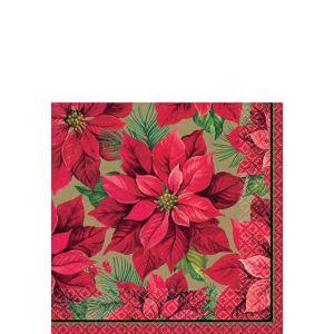 Holiday Poinsettia Beverage Napkins 16ct