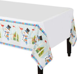 Colorful Smiling Snowman Table Covers 3ct