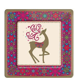 Whimsical Winter Deer Dessert Plates 18ct