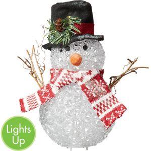 Light-Up Black Hat Snowman Decoration