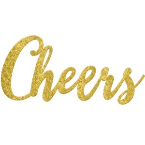 Glitter Gold Cheers Photo Booth Prop