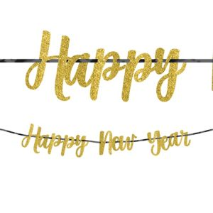 Glitter Gold New Year's Letter Banner