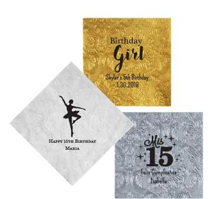 Personalized Girls Birthday Embossed Damask Lunch Napkins