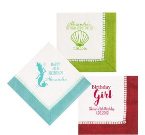 Personalized Girls Birthday Bordered Lunch Napkins