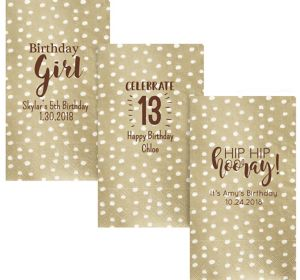 Personalized Girls Birthday Small Dots Guest Towels