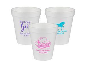 Personalized Girls Birthday Foam Cups 8oz