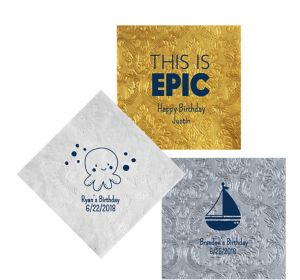Personalized Boys Birthday Embossed Damask Lunch Napkins