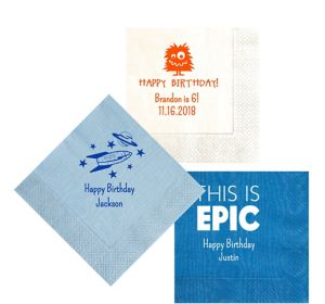 Personalized Boys Birthday Moire Lunch Napkins