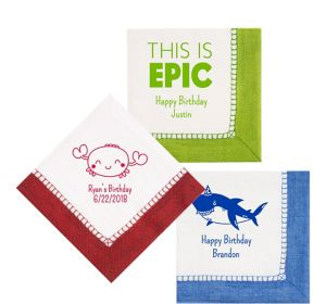Personalized Boys Birthday Bordered Lunch Napkins