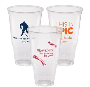 Personalized Boys Birthday Plastic Party Cups 32oz