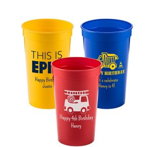 Personalized Boys Birthday Plastic Stadium Cups 22oz