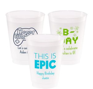 Personalized Boys Birthday Frosted Plastic Shatterproof Cups 20oz
