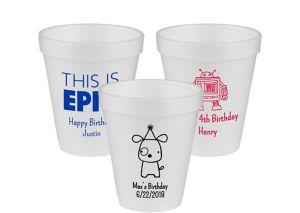 Personalized Boys Birthday Foam Cups 8oz