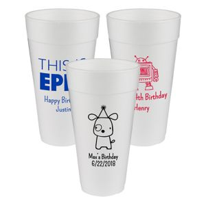 Personalized Boys Birthday Foam Cups 24oz