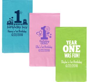 Personalized 1st Birthday Guest Towels