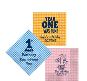 Personalized 1st Birthday Gingham Beverage Napkins