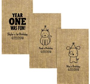 Personalized 1st Birthday Burlap Print Guest Towels